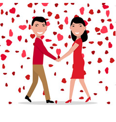 cartoon love couple falling red hearts vector image vector image