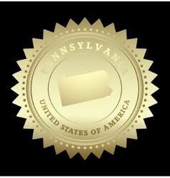 Gold star label pennsylvania vector