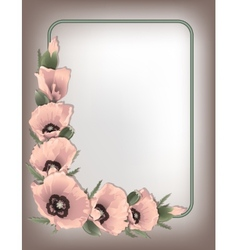 Pink poppies floral frame vector image vector image
