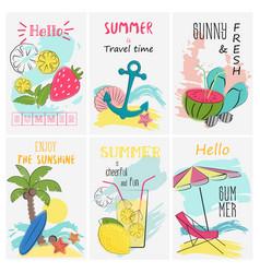 summer holidays vacation poster set greeting and vector image