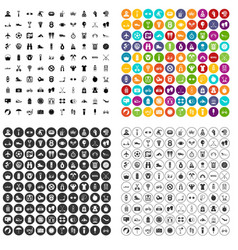100 active life icons set variant vector
