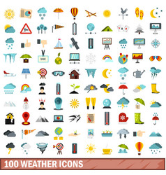 100 weather icons set flat style vector