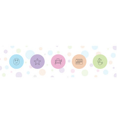 5 clipart icons vector