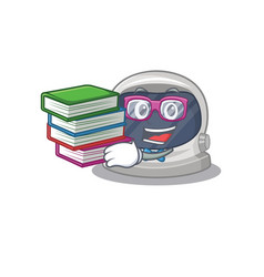 A diligent student in astronaut helmet with books vector