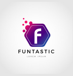 Abstract colorful dots letter f logo sign symbol vector