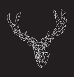 Abstract deer white on black background vector