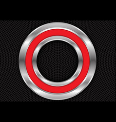 Abstract red silver circle on black mesh vector