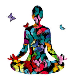 Abstract woman silhouette in yoga pose vector