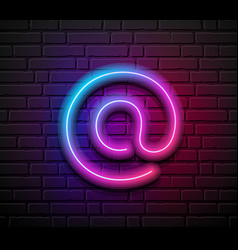 At sign neon iight colorful design on block wall vector