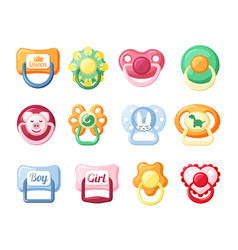 Baby pacifiers set red with head cute pig vector