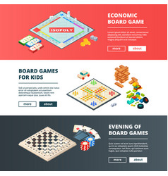 Banners of board games horizontal banners vector