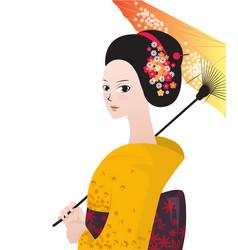beautiful japanese woman wear kimono vector image