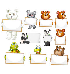 blank sign template with many animals on white vector image