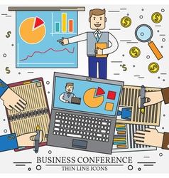 Business man giving a presentation or press confer vector