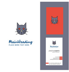 cat creative logo and business card vertical vector image