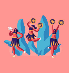 cheerleaders team in uniform dancing with pompons vector image