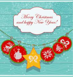 Christmas decoration card scandinavian style vector