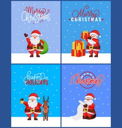 christmas greeting cards package with santa claus vector image
