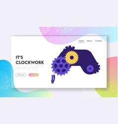 Clock mechanism website landing page tiny woman vector