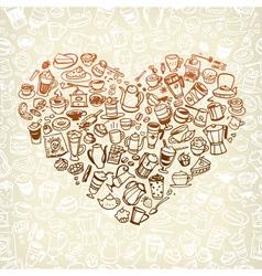 coffee doodles 3 vector image