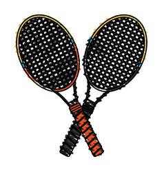 Color crayon stripe cartoon two tennis racquets vector