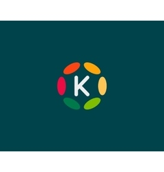 Color letter K logo icon design Hub frame vector image