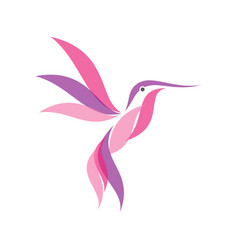 colorful hummingbird icon symbol in modern flat vector image