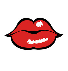 comic styled lips vector image
