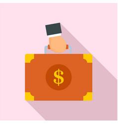 corruption money suitcase icon flat style vector image