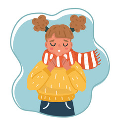 Cute little girl in winter clothes vector