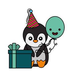 cute penguin birthday gift balloon vector image