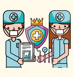 dentist boy and girl with medical report and tools vector image
