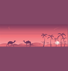 desert and oasis scene vector image