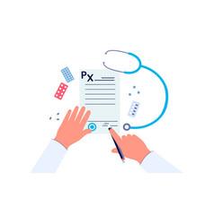 doctor hands signing medical prescription form vector image