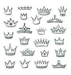 doodle crowns sketch crown queen king coronet vector image