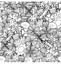 doodle flowers seamless pattern whimsical nature vector image