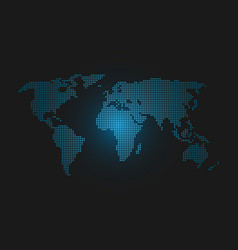 Dotted world map blue led light futuristic design vector