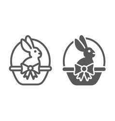 easter bunny in basket line and glyph icon easter vector image