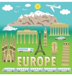 Europe travel colour set vector image