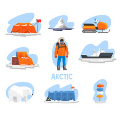 expedition to the arctic set polar explorer vector image