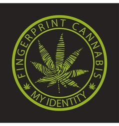 Fingerprint cannabis-marijuana vector image