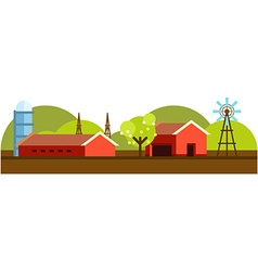flat style farm landscape with farmhouses and vector image