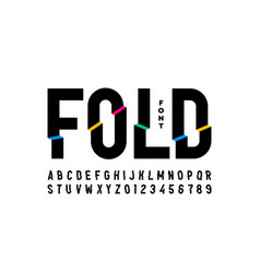Folded style colorful font vector