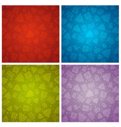 Four color christmas background with bell star vector image
