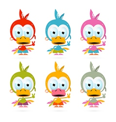 Funny Red Bird - Chicken - Duck Set vector