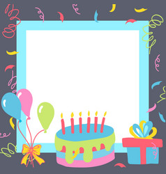 Gift boxes happy birthday in square vector