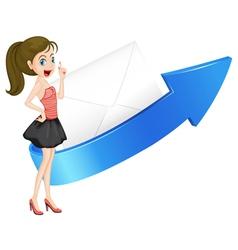 girl arrow and envelop vector image