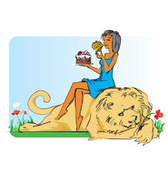 Girl with lion and cake vector