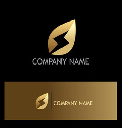 Golden leaf bio energy logo vector