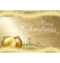 Golden Merry Christmas Greeting vector image